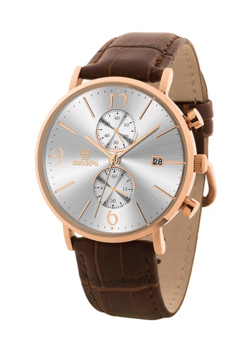 Massa Collections white and brown Generous White Rose Chronograph Quartz Leather Watch D87C8AC81623D6GS_1