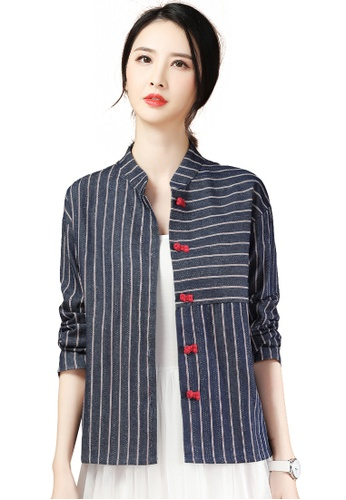 A-IN GIRLS navy Fashion Stand Collar Striped Jacket B327BAAD7026B0GS_1