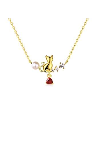 SUNSET 金色 Premium 925 Sliver Pearl Necklace F572DACEEBA1D3GS_1