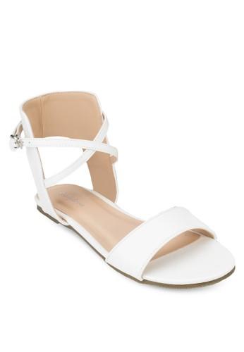 露跟交叉踝帶平底涼鞋, 女鞋,zalora開箱 涼鞋
