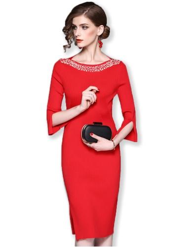 Sunnydaysweety red 2017 F/W Red Mid Sleeves One Piece Midi Dress A092716R SU219AA0G6R1SG_1