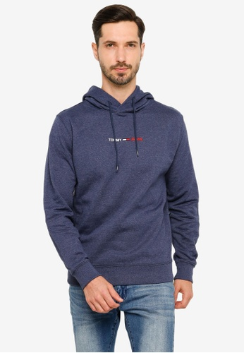Tommy Hilfiger navy Straight Logo Hoodie - Tommy Jeans 7FCD6AACBF22DFGS_1