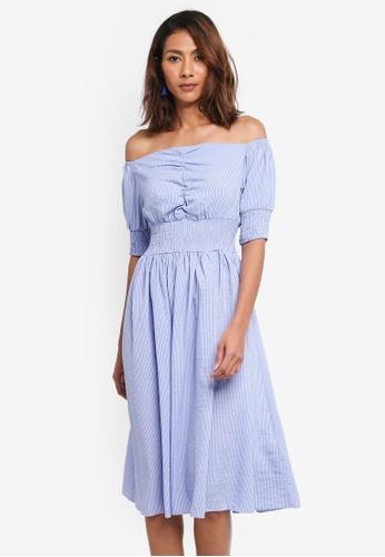 LOST INK blue Mini Stripe Bardot Fit And Flare Dress F77A7AA84F9DD0GS_1