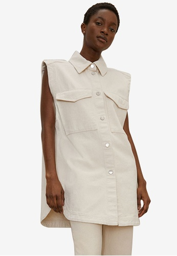 H&M white and beige Oversized Denim Gilet 9EE67AAD87AA3EGS_1