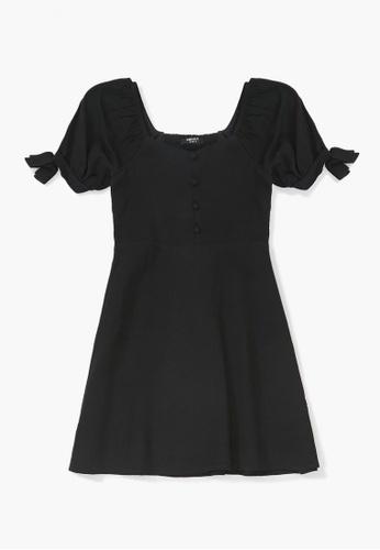 FOREVER 21 black Puff-Sleeve Dress 86762KAE59366BGS_1