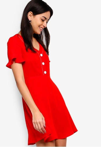 ZALORA red Button Down Fit And Flare Dress 6229EAAA9F72A0GS_1