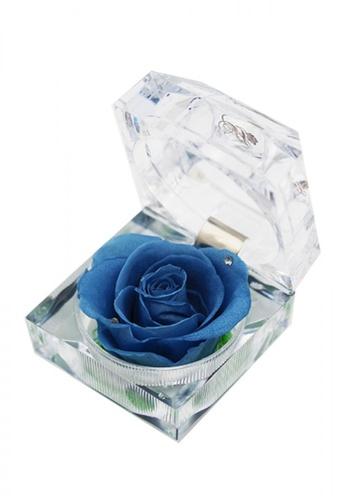 Her Jewellery blue Everlasting Preserved Rose - Rose in Ring Box (Grey Blue Rose) 77FD5HL485E5EAGS_1
