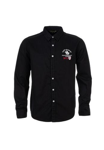 Santa Barbara Polo & Racquet Club black SBPRC Long Sleeve Shirt 05-9301-98 C618CAA59B9B33GS_1