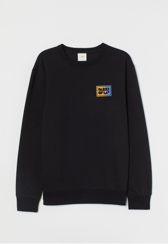 H&M black Motif-detail sweatshirt 0D1B6AAD4D48FDGS_1