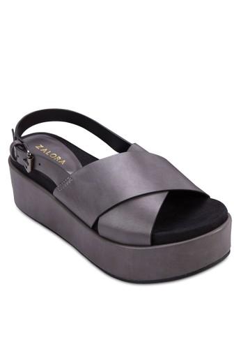 交叉寬帶厚底楔型涼鞋, 女zalora鞋子評價鞋, 楔形涼鞋