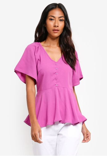 19d540306d87f ZALORA BASICS purple Basic Button Front Tea Blouse 663E6AA4C3F7A4GS 1