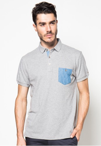 Solid Lacost Combo Denim Polo Shirt