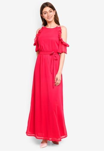 Mela London pink Side Frill Maxi Dress 5AD0FAA3329B50GS_1