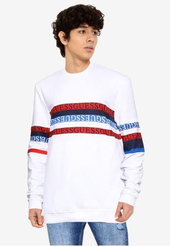 Guess white Carlton Crew Neck Fleece Logo Sweatshirt 76A20AA5A03A0CGS_1