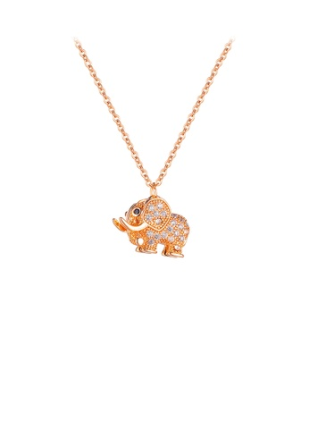 Glamorousky white Simple and Lovely Plated Rose Gold Elephant 316L Stainless Steel Pendant with Cubic Zirconia and Necklace BAC61ACB626409GS_1