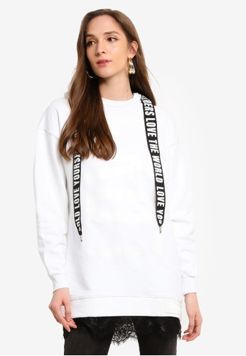 Desigual white Lace Long Hooded Sweatshirt 0176EAA2CDCD22GS_1