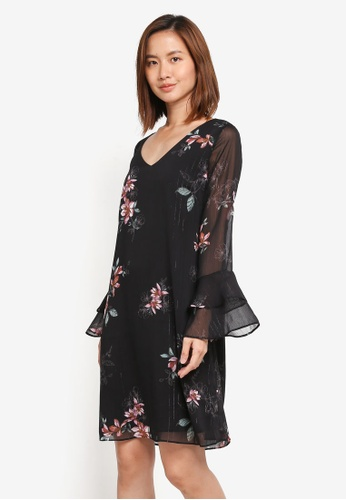 Wallis black Black Floral Double Flute Sleeve Shift Dress 0D116AA2A364CAGS_1