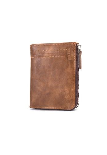 A FRENZ brown Men's RFID Blocking Zipper Bifold Wallet 8A4BFAC5576800GS_1