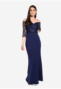 ec8b2573e2da1 15% OFF Little Mistress Navy Bardot Dress S$ 133.90 NOW S$ 113.90 Sizes 6 8  10 12 14