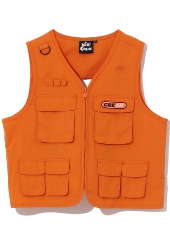 Mini cream orange Logo patch utility vest B0902AA0B0BA99GS_1