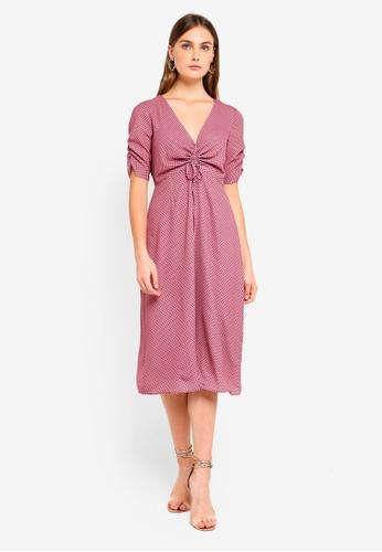 Glamorous pink Front Tie Midi Dress 21F61AA68F56ADGS_1