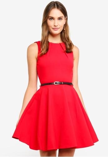 CLOSET red Skater Belted Dress 970BBAA67C3F87GS_1
