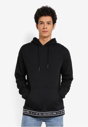 Cotton On black Drop Shoulder Pullover Fleece Jumper Hoodie A77CEAAA633BA2GS_1