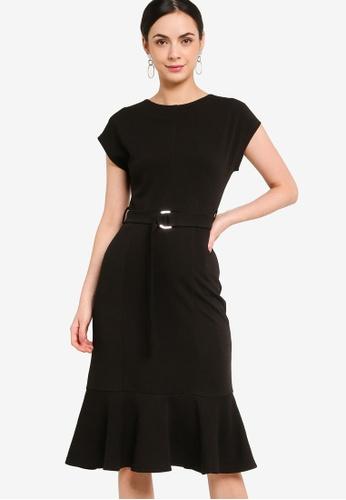 ZALORA WORK 黑色 Mermaid Hem Dress With D Ring Belt C4FEAAAB549602GS_1