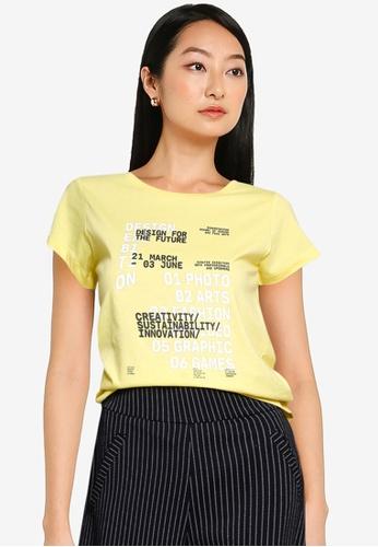 JACQUELINE DE YONG yellow Chicago Life Short Sleeves Print Top 26BB0AABC9E24DGS_1
