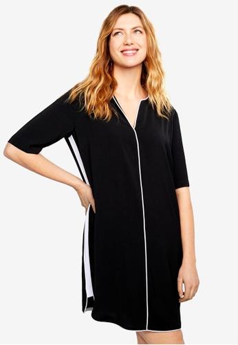 Violeta by MANGO black Contrast Trim Dress CE1D0AA5FF4F77GS_1