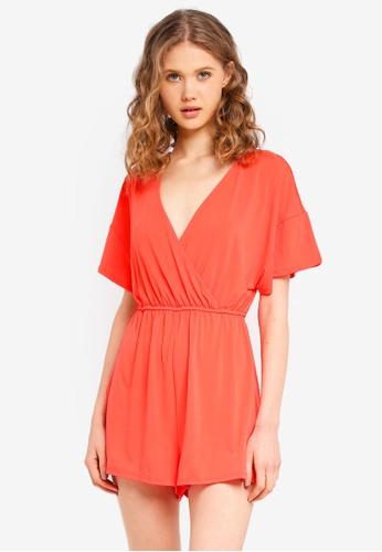 Supre orange Short Sleeve Wrap Playsuit B503CAAEFA0194GS_1