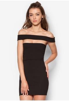 MISSGUIDED black Cut Out Panel Bardot Bodycon Dress MI511AA26IXTMY_1