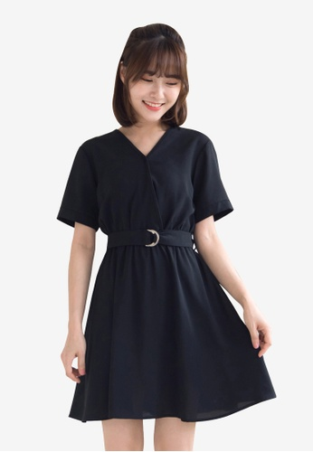 Tokichoi black Wrap Front Belted Dress 00159AA3054472GS_1