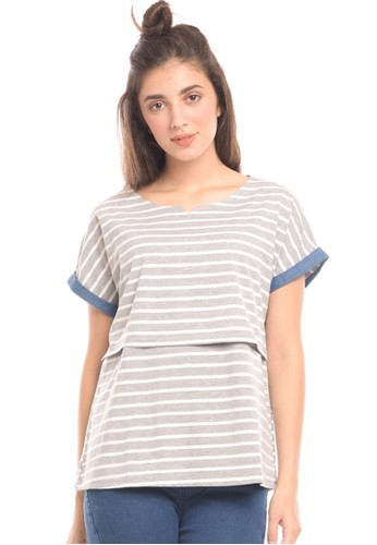 MOOIMOM grey MOOIMOM Maternity Nursing Top With Soft Stripe Double Layer Baju Hamil & Menyusui 973F6AA6B3EF0FGS_1