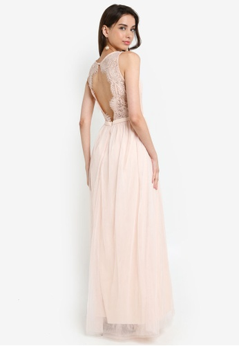 7eae03a89c9be Buy Little Mistress Nude Lace Trim Maxi Dress Online | ZALORA Malaysia