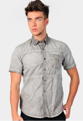 SJO & SIMPAPLY grey SIMPAPLY's Pleat Pocket Grey Men's Shirt SJ108AA39HBCID_1