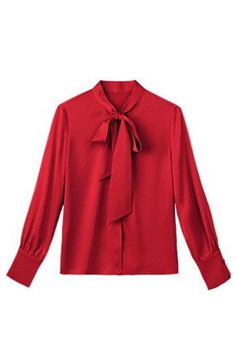 Twenty Eight Shoes red VANSA  Tie Bow Long Sleeves Blouse VCW-Bs87016 5F1F0AAA95F348GS_1