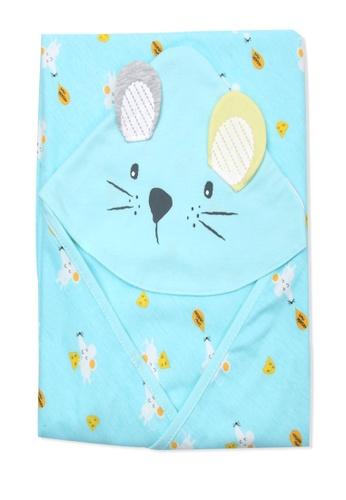 Organic mom blue Organic Cotton Jasper Mouse Swadding Blanket D87E1KC05EF90FGS_1