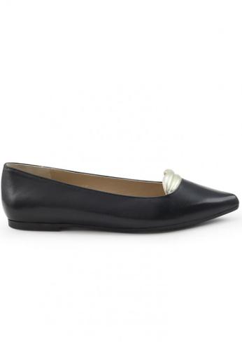 Shu Talk black Nappa Pointed Toe Flats With Lip Pattern 8F2FASH7734E90GS_1