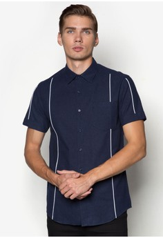 Brushed Cotton Short Sleeve Shirt With Piping