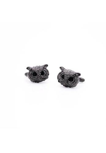 Red Stag And Hind black Red Stag And Hind Gunmetal Owl Head Cufflinks DF03AAC59B8853GS_1