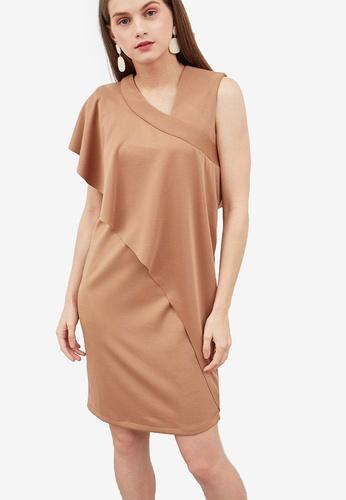 Berrybenka brown Hollin Drape Dress 2C6CCAAFC4D3A8GS_1