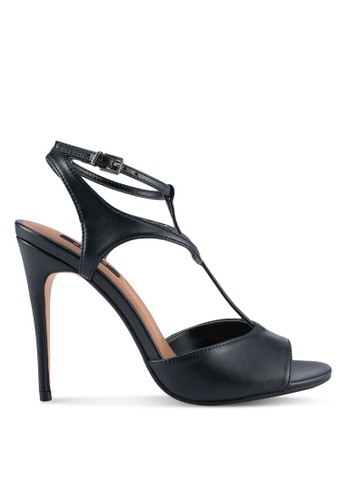 ZALORA 黑色 T字帶魚口高跟鞋 64690SHB490AE8GS_1