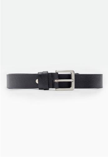 MIT質感壓紋。真皮窄版zalora taiwan 時尚購物網鞋子皮帶-05132-黑色, 飾品配件, 皮帶