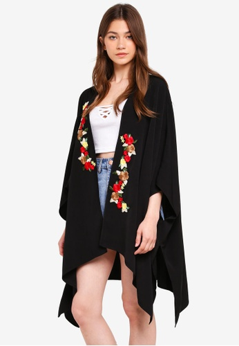 Something Borrowed black Kimono With Floral Patches 1F1FCAADE4A371GS_1