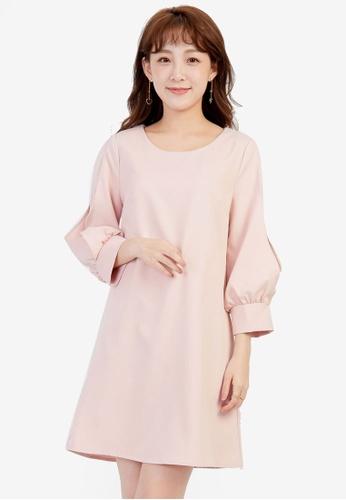 YOCO pink Shift Dress with Mesh Sleeves YO696AA0SSKFMY_1