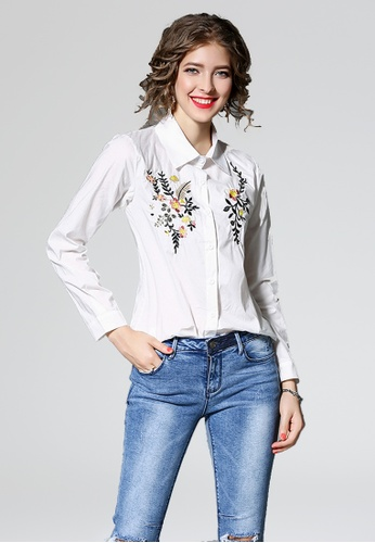 NBRAND white Long Sleeve Embroidery Shirt NB356AA0GQMMSG_1