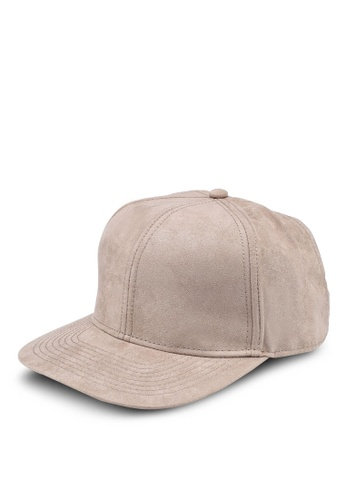 Topman grey Taupe Suede Snapback Cap 5C17AAC6AFF1E0GS_1