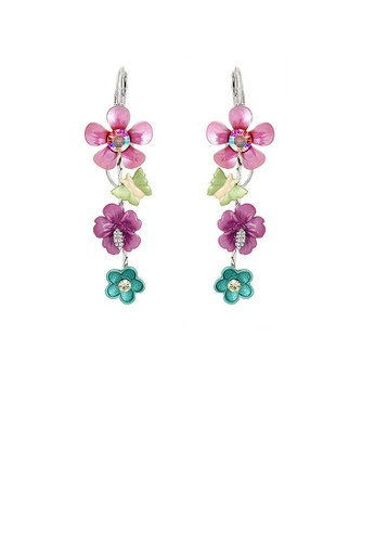 Glamorousky pink Pink and Blue Flower Earrings with Pink and Silver Austrian Element Crystals 0F642AC0BDE606GS_1