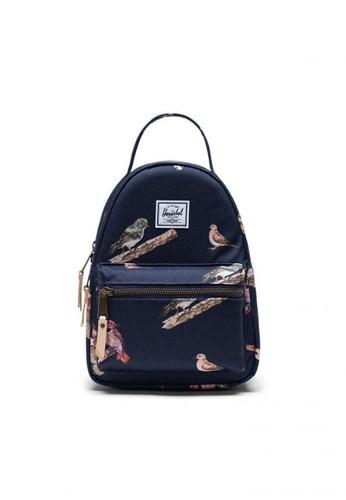 Herschel blue Backpack Nova Mini Birds Of Peacoat Birds E329EAC1AAF581GS_1